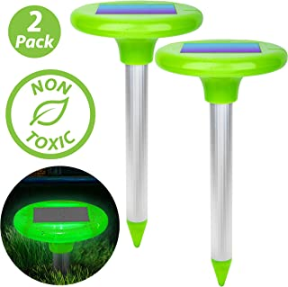 Livin' Well LED Solar Mole Repellent Stakes - 2pk Ultrasonic Solar Powered Rodent Repeller Yard Spikes, Mole Control to Get Rid of Moles, Voles and Gophers