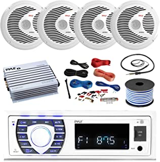 Pyle 16-25' Bay Boat Bluetooth Marine Stereo Receiver, 4 x 150W 6.5'' Marine Speakers (White), 4 Channel Waterproof Amplif...