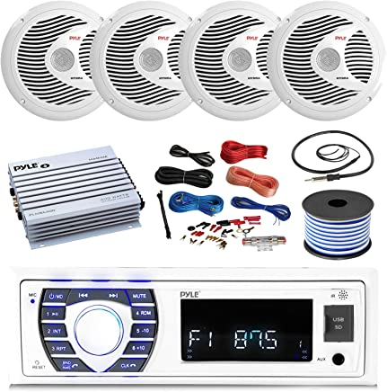 $172 » 16-25' Bay Boat: Pyle Bluetooth Marine Stereo Receiver, 4 x Pyle 150W 6.5'' Marine Speakers (White), Pyle 4 Channel Waterproof Amplifier, Pyle Amp Install Kit, 18 Gauge 50 FT Speaker Wire, Antenna