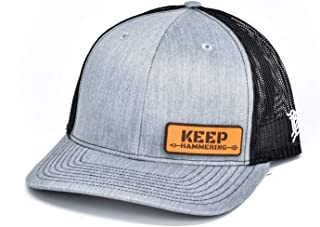 Cam Hanes Keep Hammering Leather Patch Hat Curved Trucker