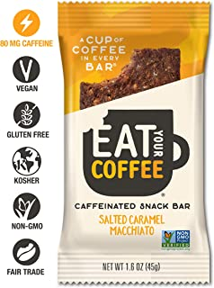 Eat Your Coffee Energy Bar Salted Caramel Macchiato Flavor | Vegan, Gluten Free, Non GMO, Kosher | Tasty Caffeinated and Natural Snack | Fair Trade, Clean Ingredients | Real Food to Fuel Workouts