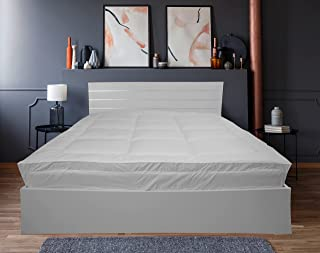 Deyarco Princess Cotton Downproof Mattress Topper Fitted Style having all around elastic - Size: Super King 200x200cm,600gsm