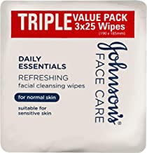 JOHNSON'S Daily Essentials Refreshing Facial Cleansing Wipes Triple Value Pack, 3 x 25 Wipes