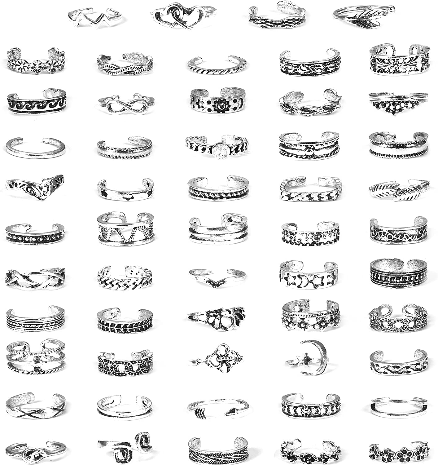 Jstyle 54 Pcs Open Toe Rings Set for Women Vintage Retro Finger Tail Ring Summer Beach Sandals Foot Jewelry