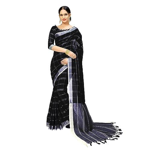 dffb16c667 Indira Designer Women's Cotton Linen Blend With Tessal Linen Sarees With  Blouse Piece