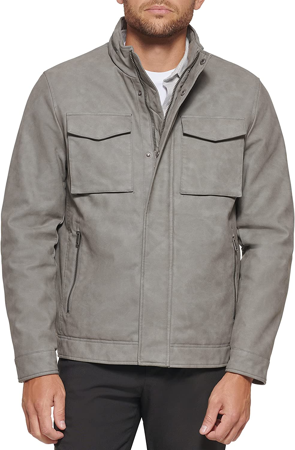 Dockers Men's Faux Leather Military Jacket