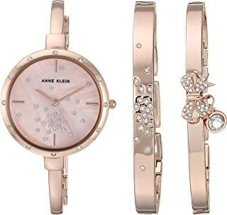 Anne Klein Women's AK/3274 Swarovski Crystal Accented Watch and Bracelet Set