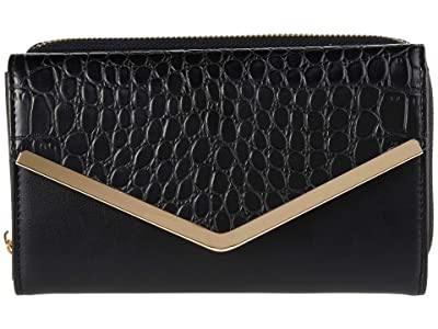 San Diego Hat Company Croc Embossed Smooth PU Leather Wallet w/ Zip Closure (Black) Handbags
