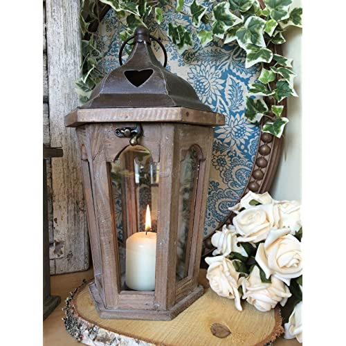 Rustic Moroccan Lantern Hanging Solar Lamp LED Candle Light Garden Outdoor