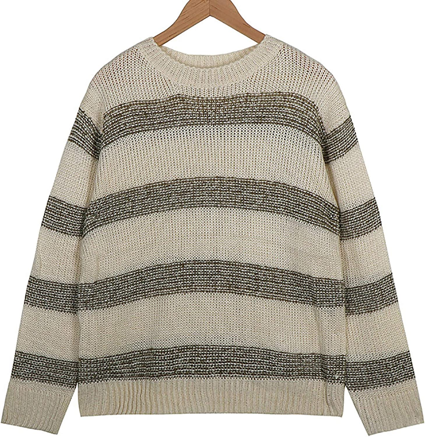 ZSBAYU Men's Striped Crewneck Pullover Sweaters Long Sleeve Cable-Knit Sweater Wool Blend Jumpers Sweatershirt