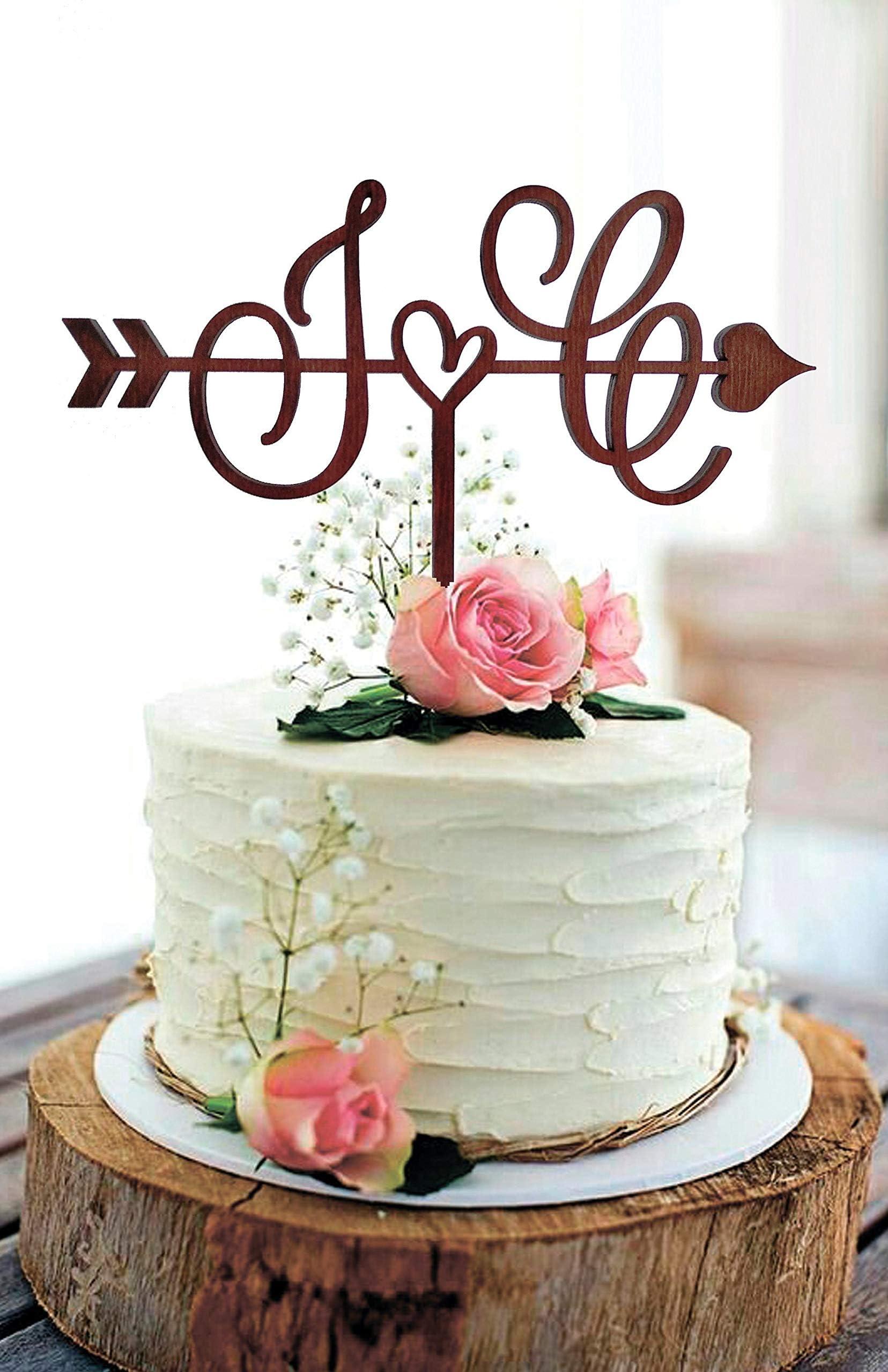 wedding wooden caketopper for bride and groom Wedding Caketopper caketopper with initials Monogram Cake Topper customizable caketopper