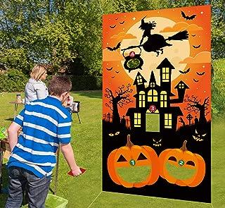 Halloween Bean Bag Toss Games,3 Bean Bags - Pumpkin Haunted House for Kids Party Decor Funny Props