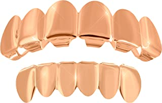 14k Rose Gold Finish Top Bottom Mouth Grillz Tooth Grills CapsHalloween Accessories