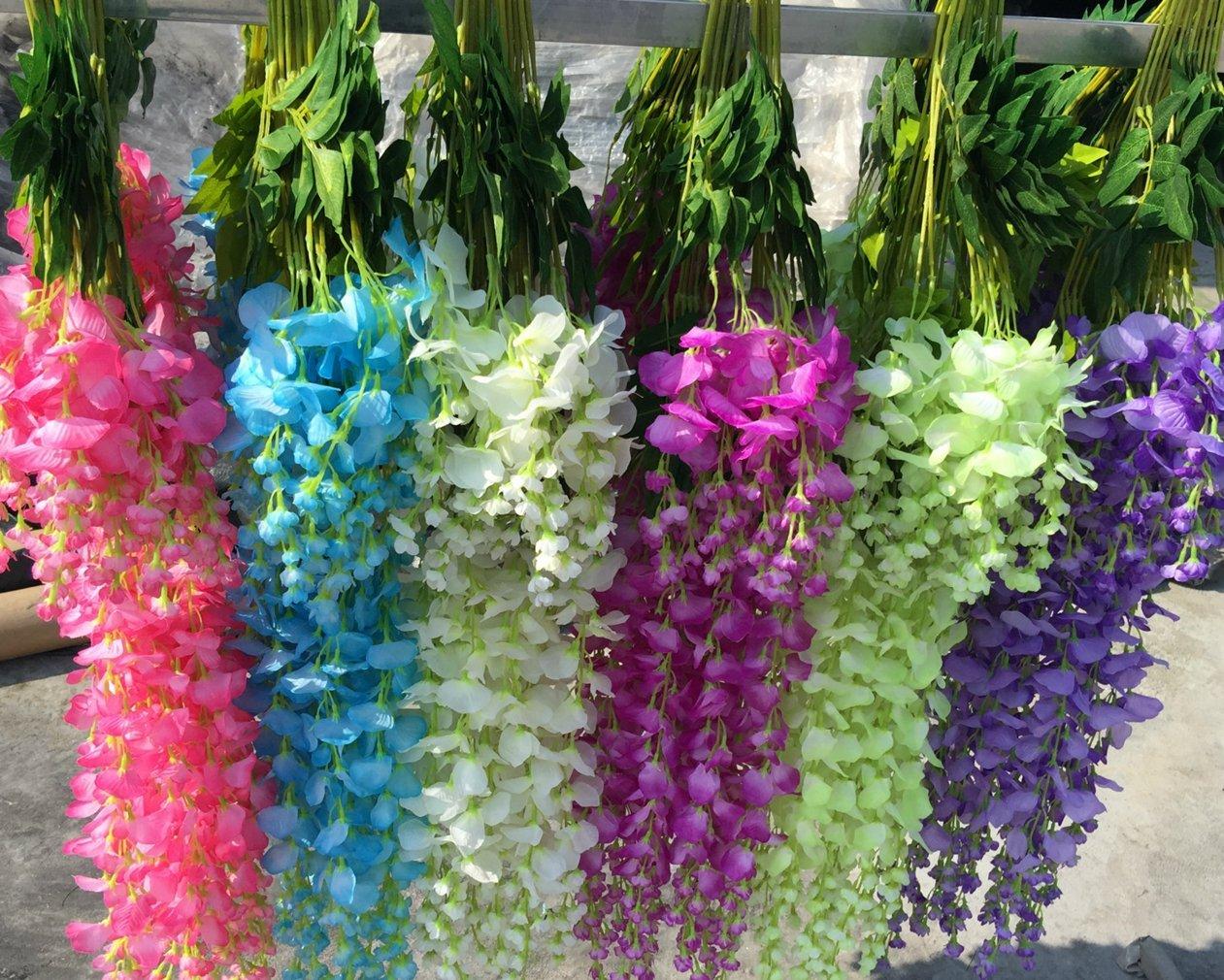 Set de 12 plantas (102 cm) Artificiales Glicinias Seda Colgante Para Decoración Enredadera Flores colgantes Jardín Para Comedor Salón Fiesta Boda(Rosa/Rojo): Amazon.es: Hogar
