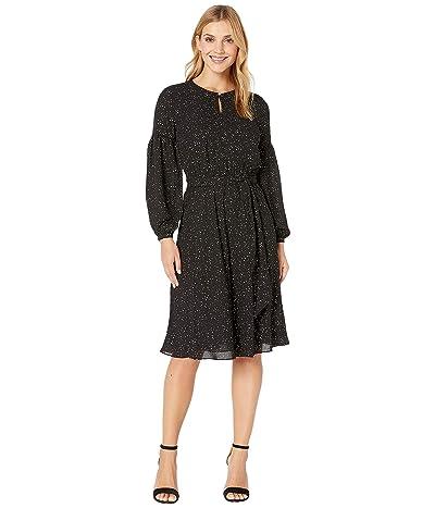 LAUREN Ralph Lauren Blouson Sleeved Dress (Polo Black/Mascarpone Cream) Women