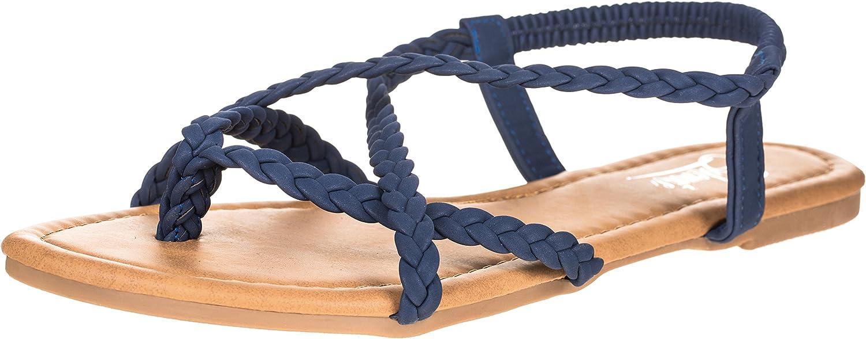 Solemate Women's Braided Strap Thong Flip Flop Flat Sandals (10 B(M) US, Navy)