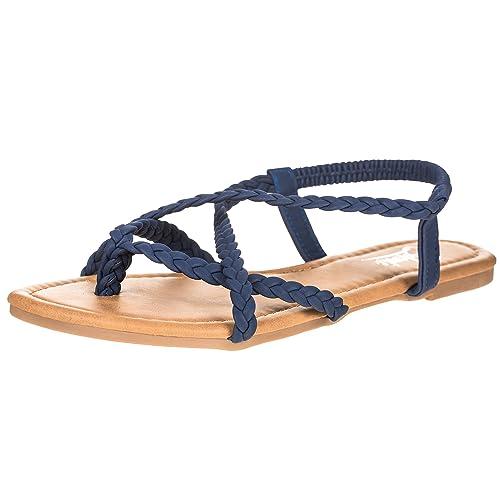 1926c99765091a CLOVERLY Women s Braided Strap Thong Flip Flop Flat Sandals