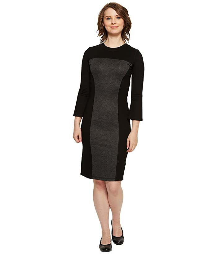 Independence Day Clothing Co Reversible Long Sleeve Panel Dress (Black/Charcoal) Women's Dress