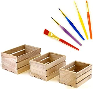 Set of 3 Small Wood Crates with 5 Piece Paint Brush Set