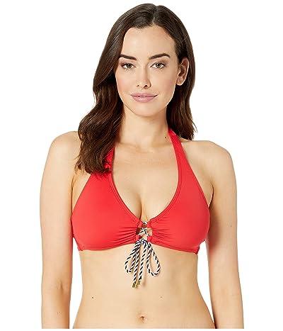 LAUREN Ralph Lauren Beach Club Solids Laced Front Halter Top (Ribbon Red) Women