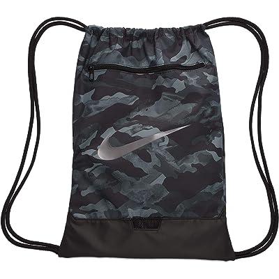 Nike Brasilia All Over Print Gym Sack 9.0 (Light Smoke Grey/Black/Metallic Cool Grey) Backpack Bags