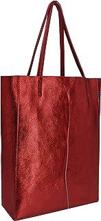 SKUTARI® LEDER VITTORIA Brillante | Damen Shopper | glänzende Handtasche | Schultertasche | eingenähter Innentasche | Lede...