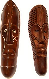 NOVARENA African Art Cameroon Gabon Fang Wall Masks and Sculptures - Africa Home Mask Decor (2 Pc Set of Brown Masks)