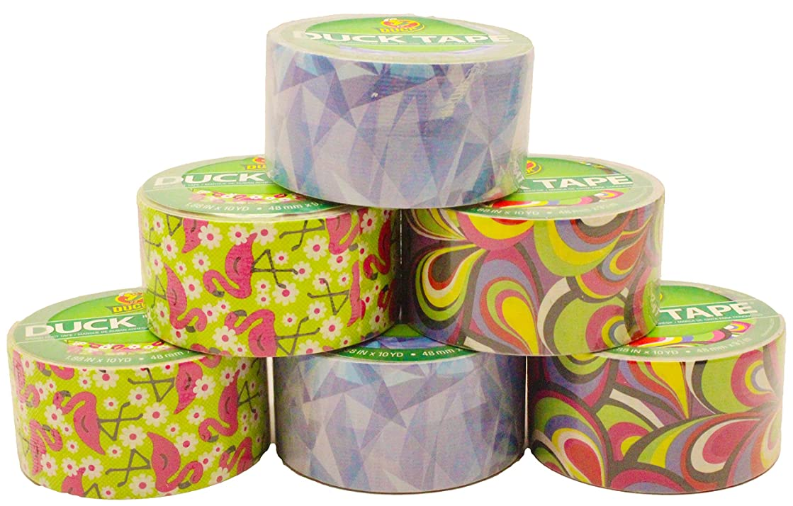 Duck Duct Tape Set, Stained Glass, Peacock, Flamingo, 2 of Each 1.88 x 10 Yards (Pack of 6)