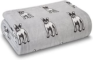 Elite Home French Bulldog Velvety Plush Throw Blanket Super Soft 50