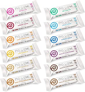 No Cow Protein Bars, 12 Flavor Sampler Pack, 20g Plus Plant Based Vegan Protein, Keto Friendly, Low Sugar, ...
