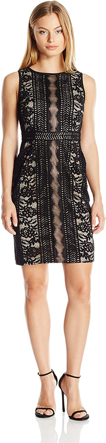 Adrianna Papell Women's Petite Embroidered Directional Striped Lace Dress