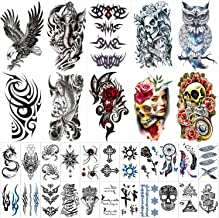 42 Sheets Temporary Tattoos Stickers (Include 10 Sheets Large Stickers), Fake Body Arm Chest Shoulder Tattoos for Men and ...