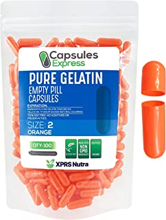 XPRS Nutra Size 2 Empty Capsules - Orange Colored Empty Gelatin Capsules - Capsules Express Empty Pill Capsules - DIY Supp...