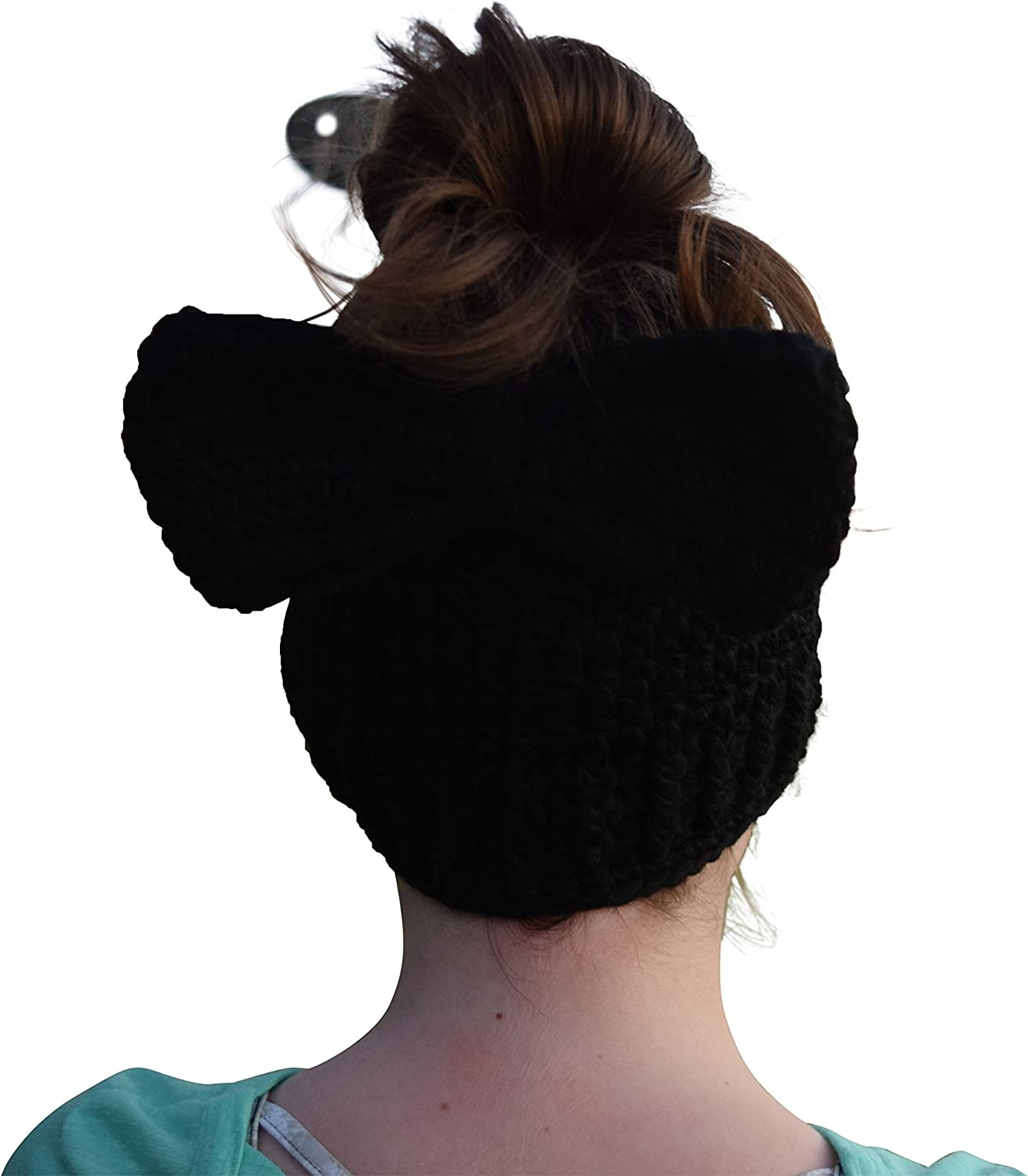 Crochet Messy Bun Beanie Slouchy Style with Hole for Ponytail Hat with Crochet Bow On Beanie