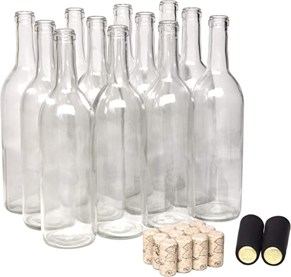 North Mountain Supply 750ml Clear Glass Bordeaux Wine Bottle Flat Bottomed Cork Finish With 8 Premium Natural Corks Black PVC Shrink Capsules Case Of 12