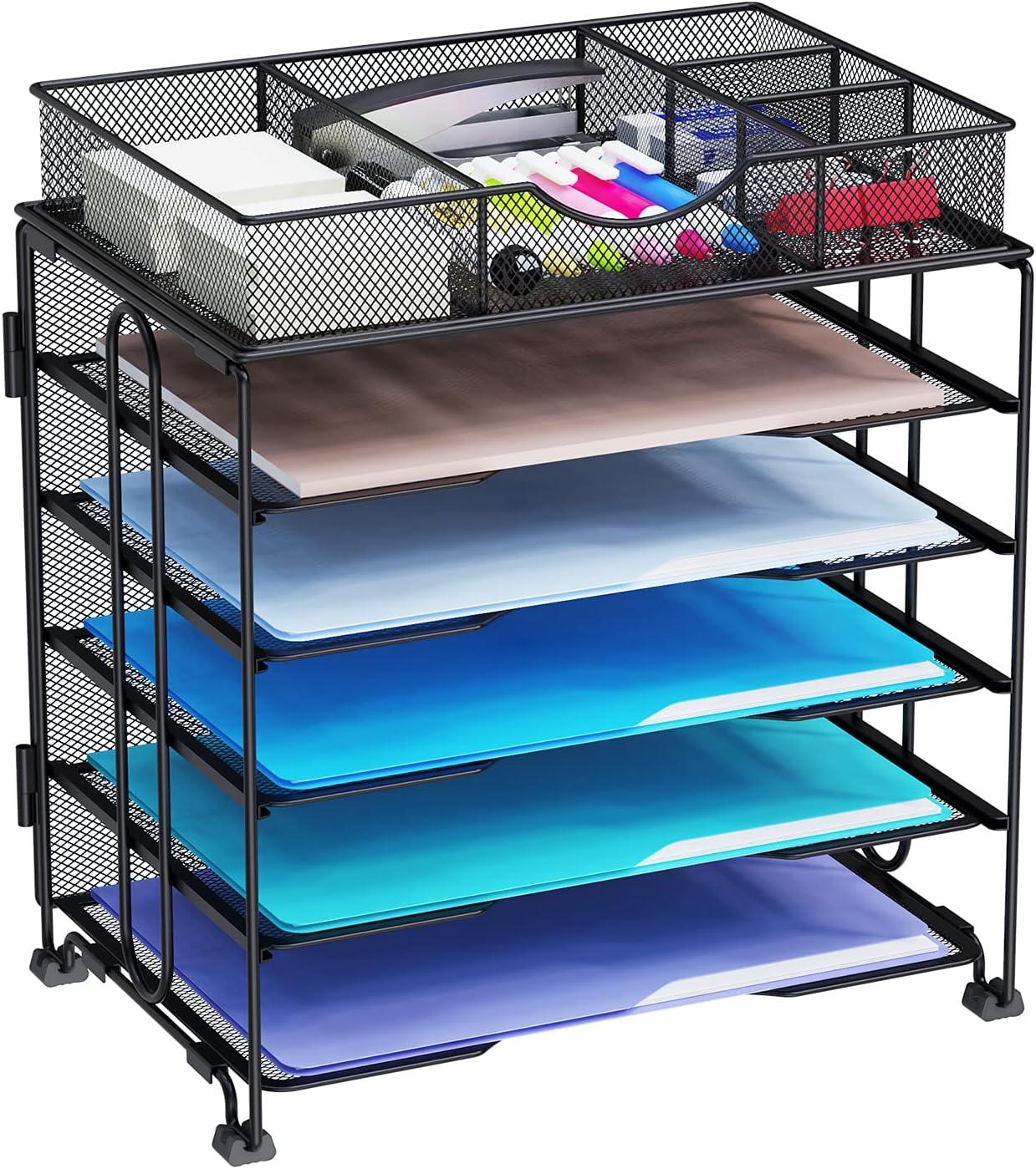 Kntiwiwo Paper Tray Organizer File Organizers for Desk 5-Tier Desktop File Organizer Metal Letter Tray Desk Organizers   Screws Free Design, Black…