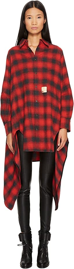 Grunge Melange Check Cotton Button Up Blanket Shirt