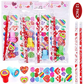 FUNNISM 12 Pack Assorted Valentines Day Stationery Set,Valentine Theme Designs Valentine Party Supplies,Classroom Prizes,C...