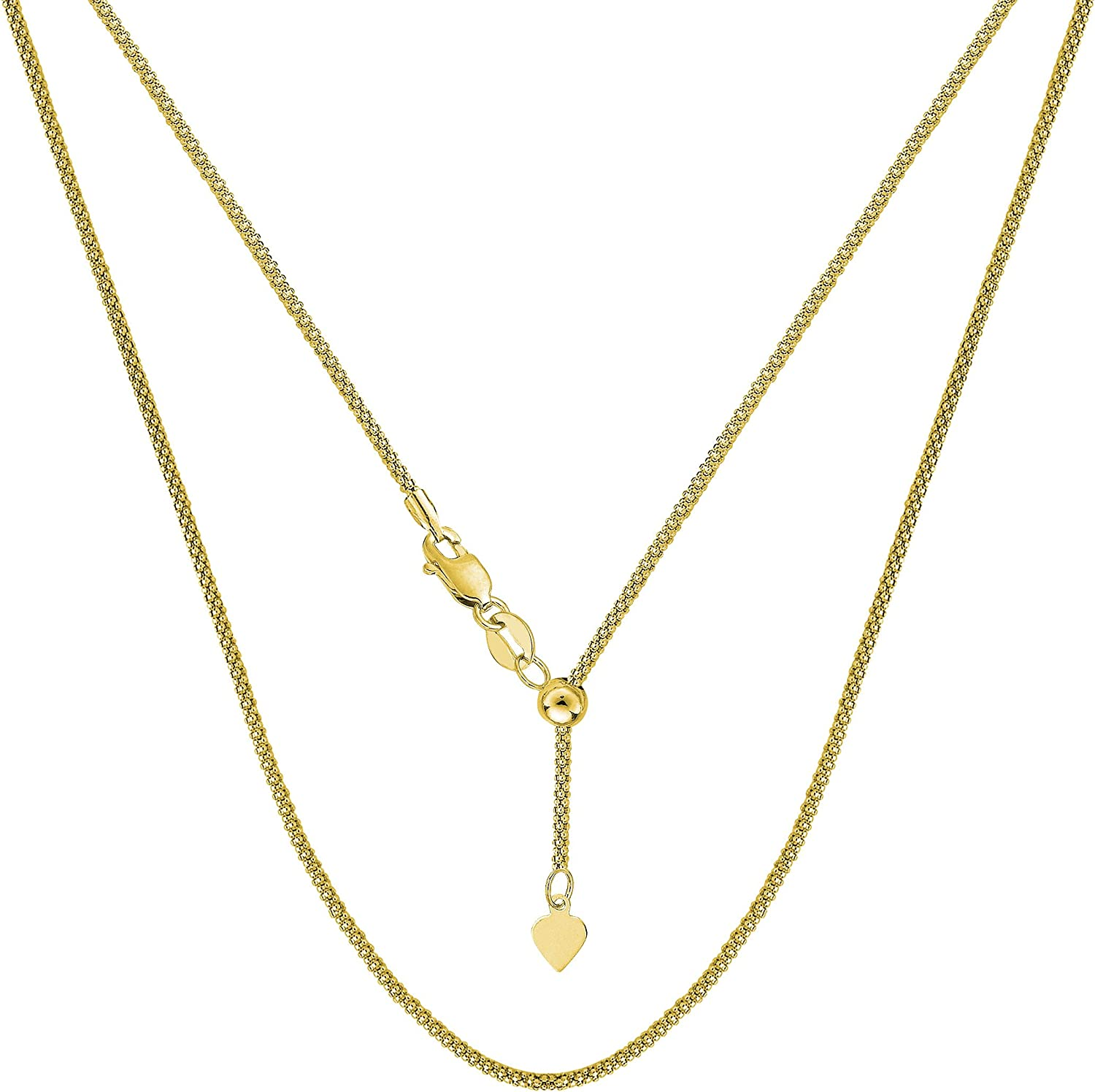 14k Yellow Gold Adjustable Popcorn Link Chain Necklace, 1.3mm, 22