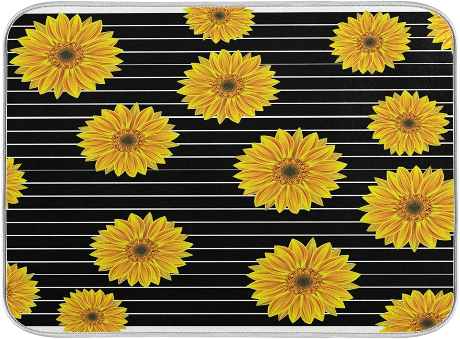 Dish Drainer Mat for Kitchen Counter Striped Dryi Over item handling Sunflower discount