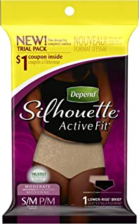 Depend Silhouette Active Fit Incontinence Underwear for Women, Moderate Absorbency, S/M