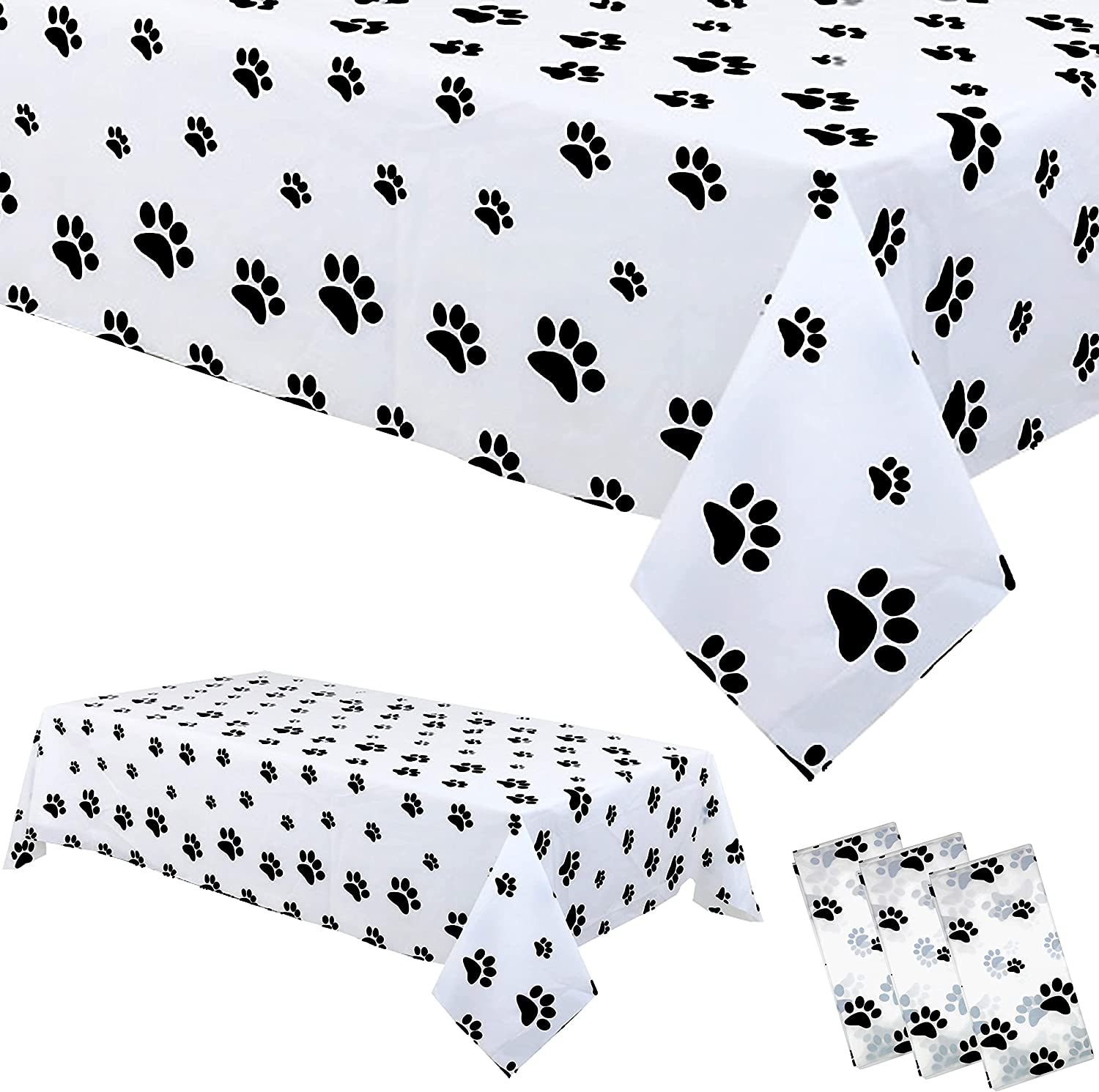 3 Pack Plastic Puppy Paw Print Tablecloth Large Size Disposable Rectangular Table Covers for Dog Themed Birthday Party Supplies Dog Lover Dining Room Kitchen Decor