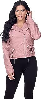 Women's Short Vegan Faux Leather Quilted Zip Up Buckle Biker Moto Jacket