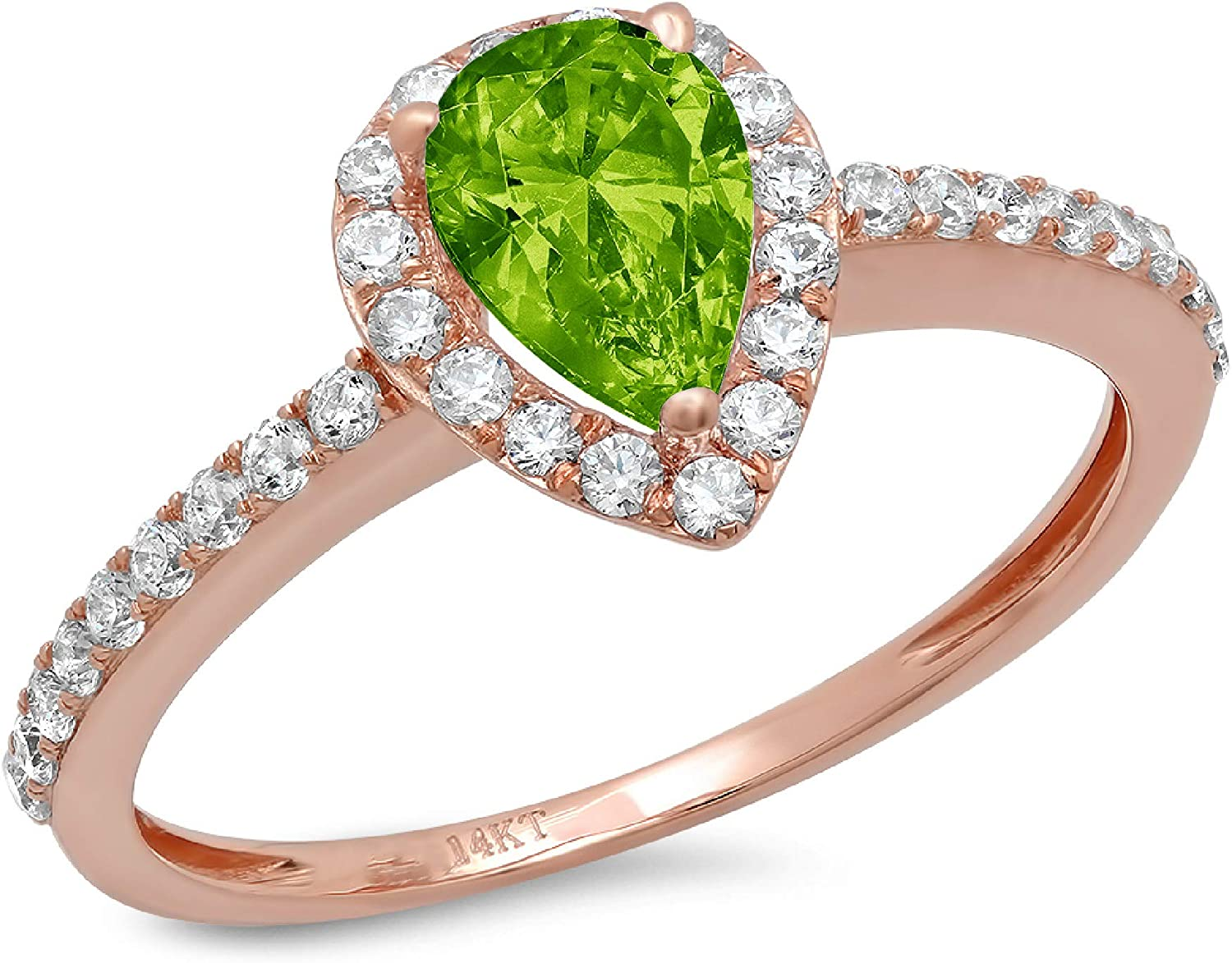 1.19ct Brilliant Pear Cut Solitaire with accent Flawless Genuine Natural Pure Green Peridot Gemstone VVS1 Designer Modern Statement Ring Solid 14k Rose Pink Gold
