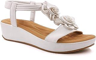 Angkorly - Chaussure Mode Sandale Nu-Pieds Bohème Romantique Casual Femme élastique lanières Fleurs Talon Plat 5 CM