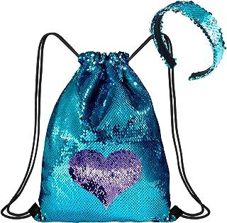 WolinTek Mermaid Borsa con Paillettes Zaino Borsa Paillettes Reversibili Glitter con Fascia,Escursionismo Borsa a Tracolla...