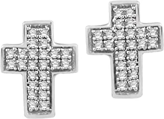 Diamond Accent Cross Stud Earrings In Sterling Silver By Halo Jewels