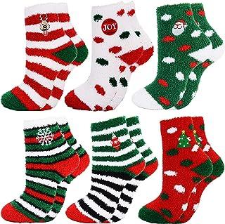 Calcetines de Navidad 6 Pares Calcetines Navidad Mujer Calcetines Termicos Mujer Invierno Calcetines Señora Navidad Calcetines para Niña Regalo Navidad