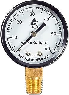 American Granby 2 Inch Bottom Mount Pool Filter Pressure Gauge - 0-60 PSI