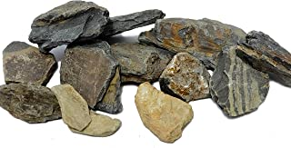 Natural Aquarium Stones Brown/Grey Slate - Size 2 to 5 Inch. PH Neutral. Perfect Rocks for Aquascaping Planted Aquariums, Cichlid and Nano Tanks, Reptile and Amphibian Enclosures (5 lbs)